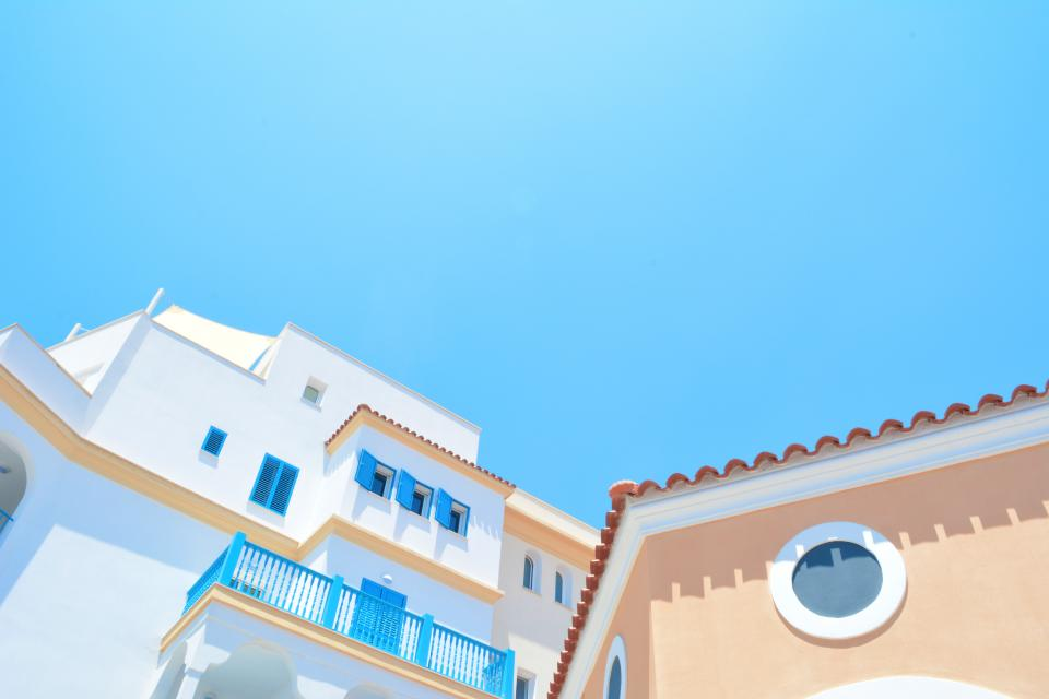 architecture houses homes residential suburbs spanish windows pastel sky blue