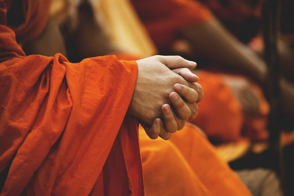 guy man male people hands fist palms clenched pray monks orange robe still bokeh