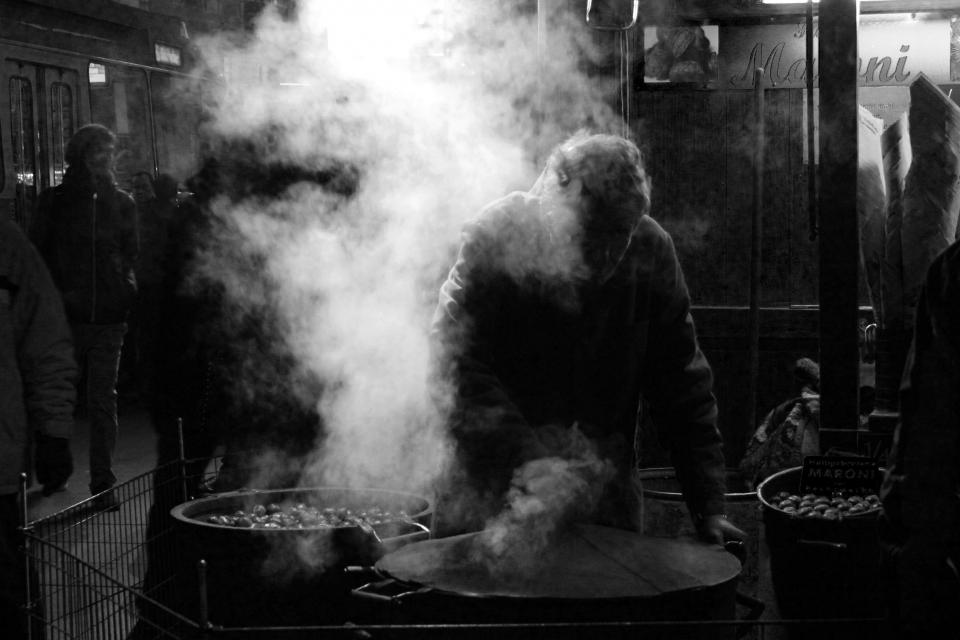 people street black and white urban dark night smoke pots cooking