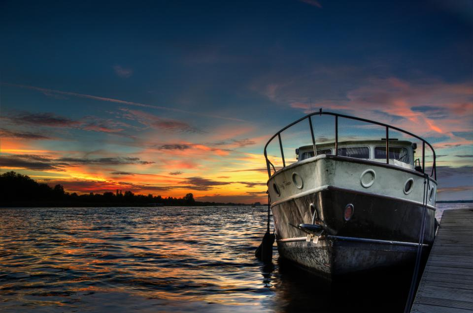 boat ship sunset dusk sky clouds water lake dock hdr outdoors