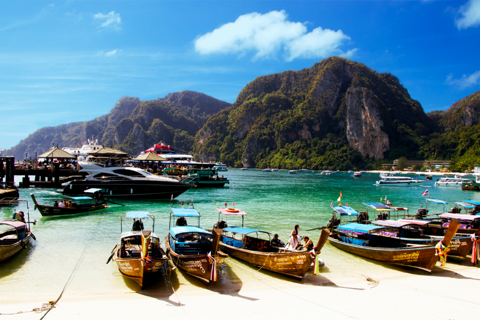 Thailand Phi Phi Island sky clouds boats ocean clear water relax exotic mountain blue sea ocean island