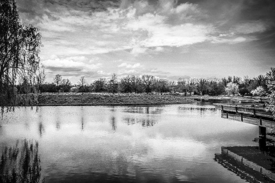 lake river water sky clouds nature outdoors reflection trees landscape black and white
