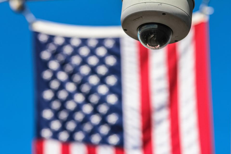 usa flag blur cctv camera security