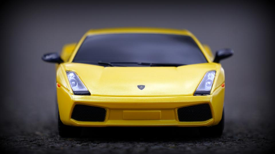 crafts hobby miniature cars still items things toys model scale asphalt ground lamborghini aventador yellow bokeh