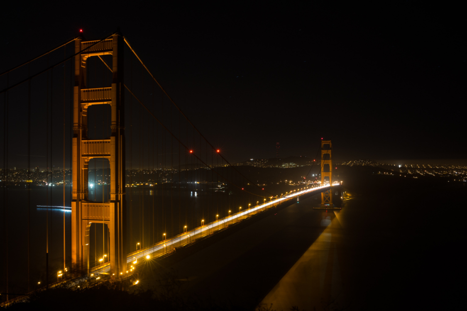 golden gate bridge san francisco usa night dark architecture bridge city city lights evening infrastructure lights road travel water sea transport