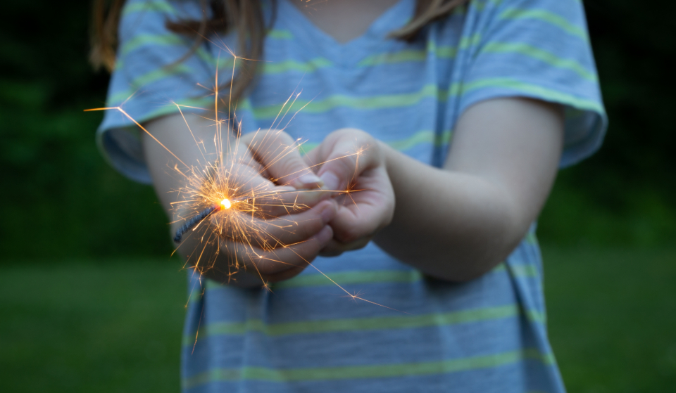 fireworks sparklers holiday celebration fun outdoors bokeh person hands holding sparks party entertainment glow