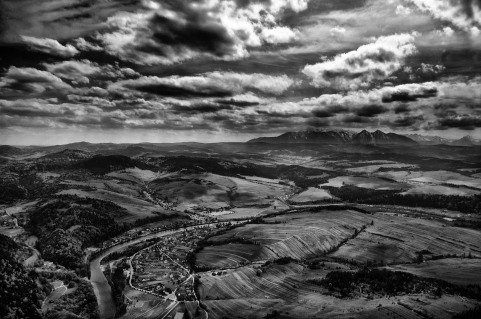aerial clouds sky black and white landscape nature