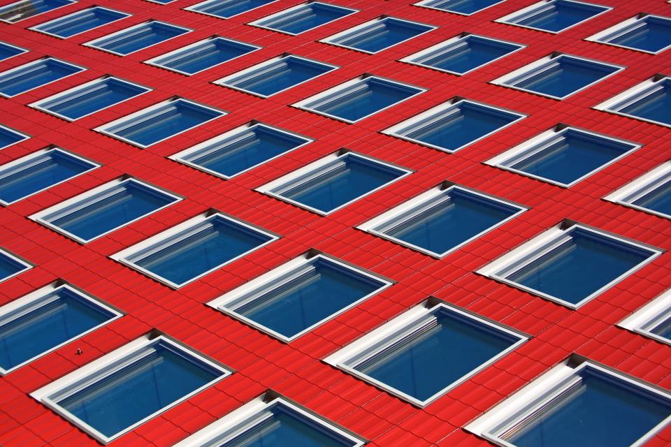 architecture building infrastructure window red blue