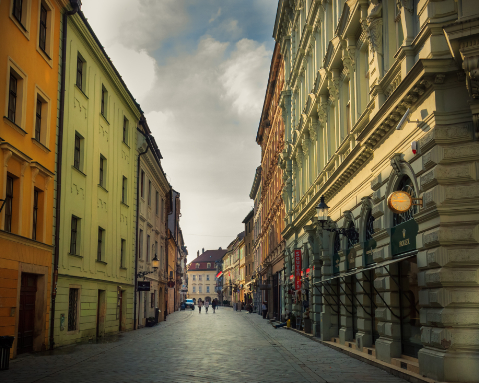 city bratislava colors old arhitecture street quiet empty clouds dramatic