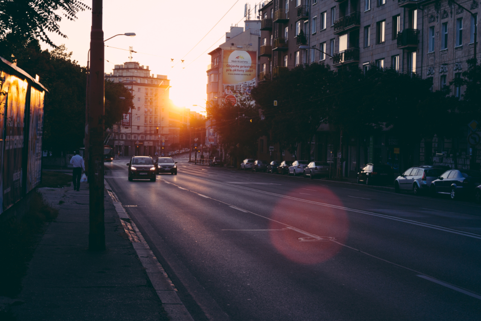 city sunrise morning street sun golden urban travel transportation lights early morning road architecture building