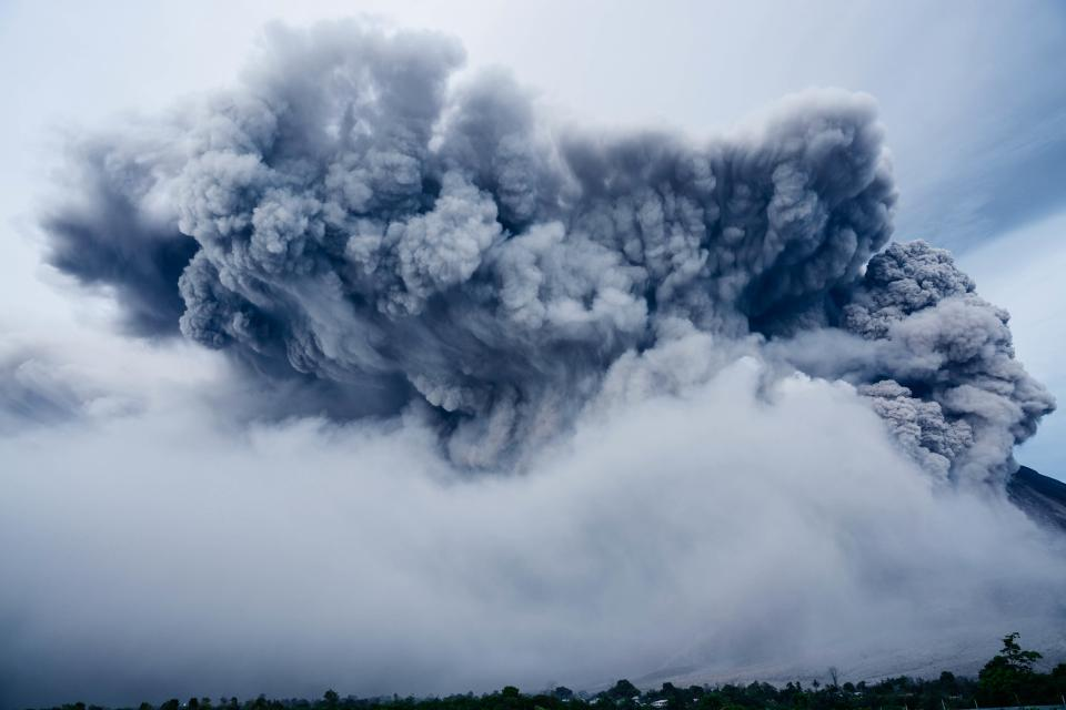 volcano explosion nature eruption smoke trees cloud sky