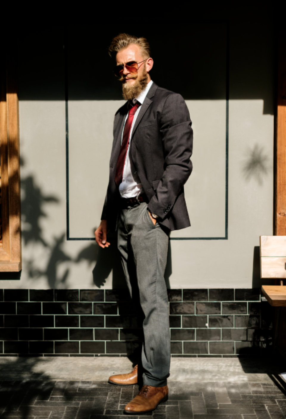 beard business confidence corporate courage handsome man outdoors smart standing style suit sunlight sunny fashion suit clothes people