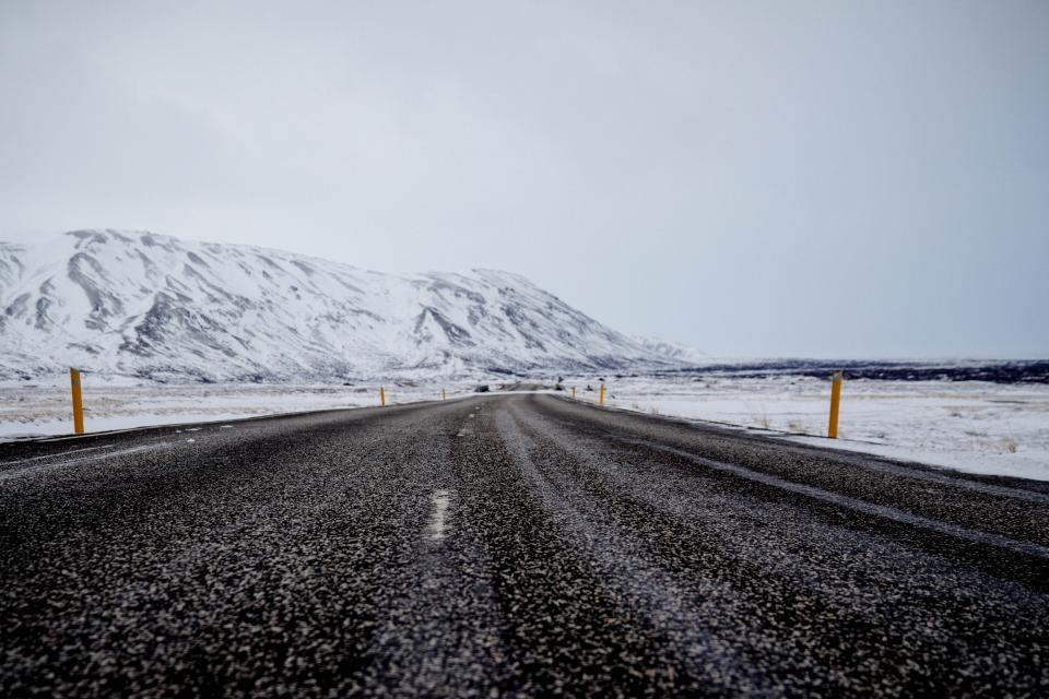 road pavement rural mountains landscape nature winter snow cold