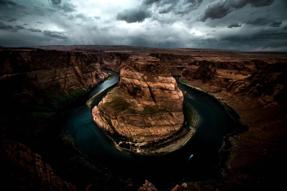 horseshoe bend river water landscape view nature clouds sky