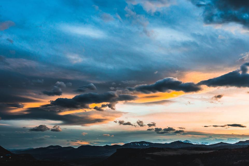 nature mountains landscape fiery sky clouds horizon blue