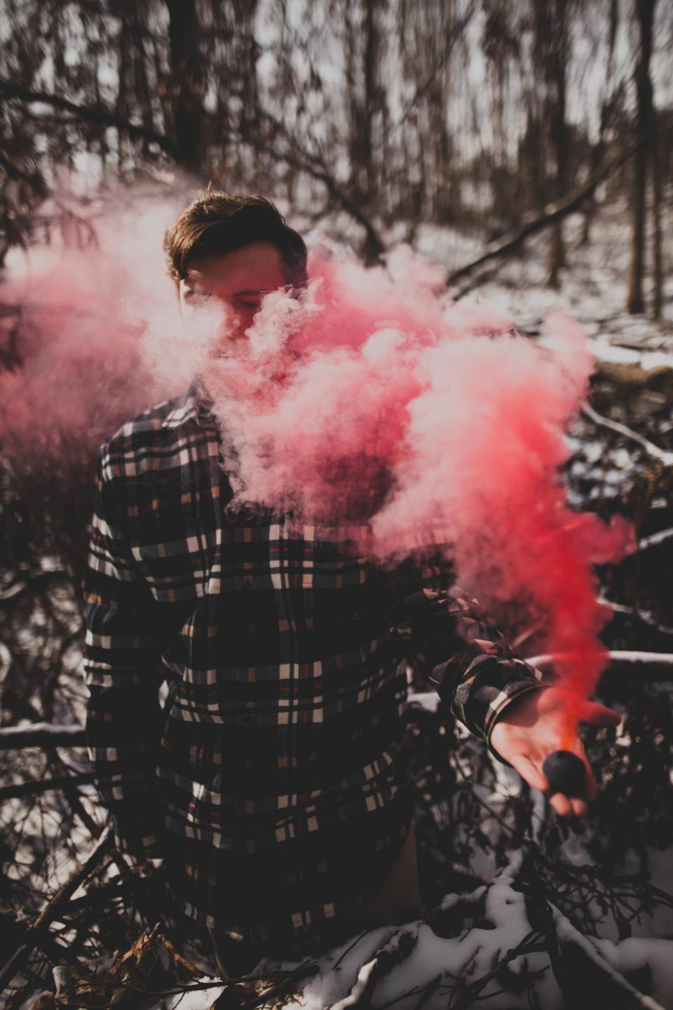 trees plant nature forest wood people man smoke dark snow  bokeh