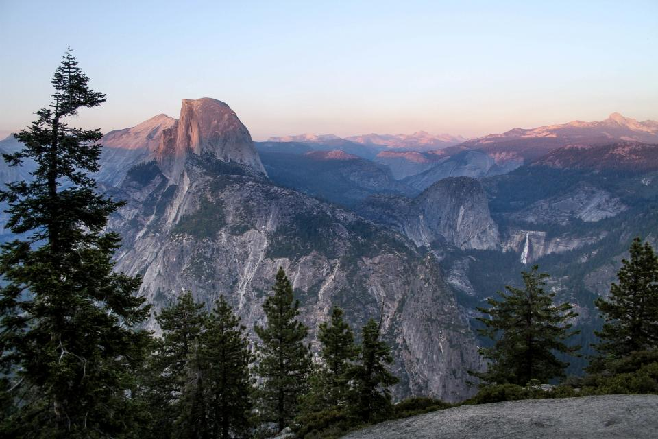 mountain highland valley landscape nature trees plants sky clouds half dome sunset sunrise