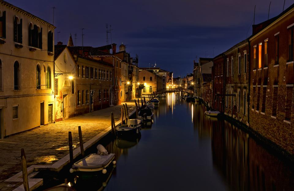 architecture building infrastructure canal water city night lights sky boat reflection italy