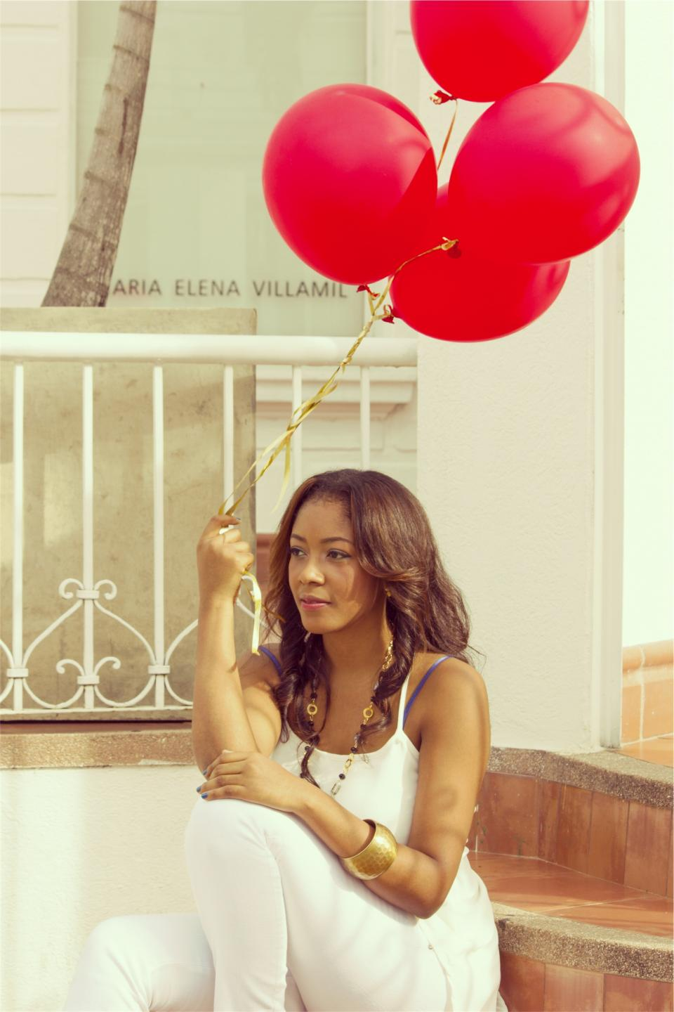 girl woman red balloons pretty beautiful people curls long hair fashion