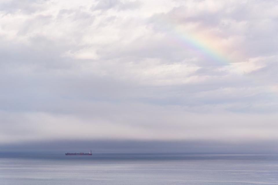 ship sailing travel clouds sky rainbow sea ocean water