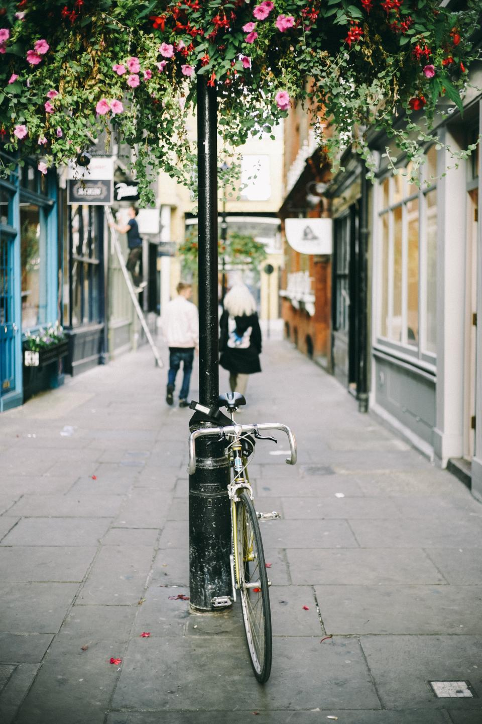 bike bicycle pole flowers plants petals building alley sidewalk people walking men girl