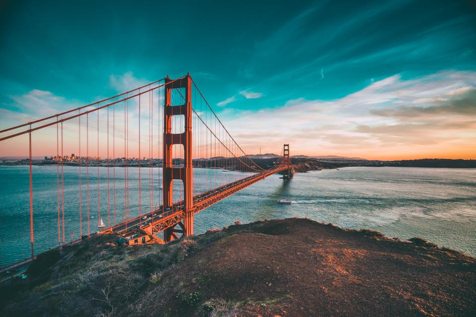 Golden Gate Bridge architecture San Francisco sea water landscape nature sky sunset clouds