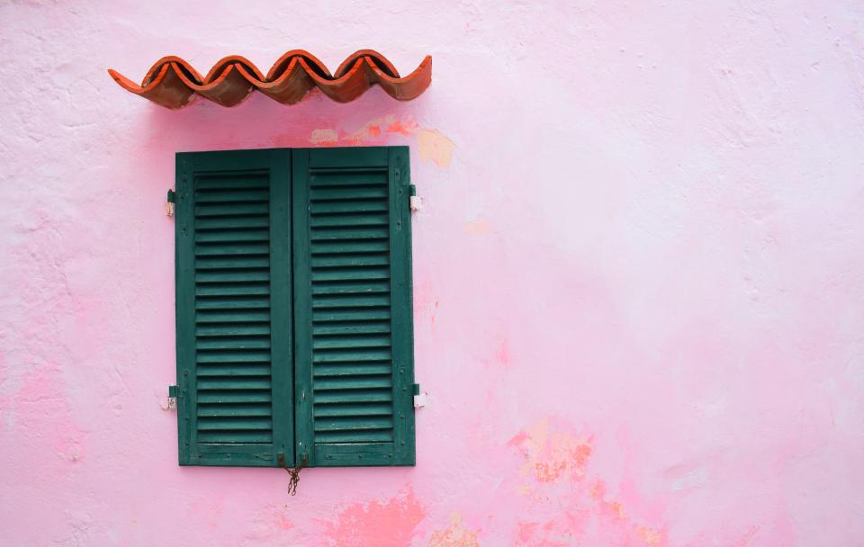 window pink roof simple art wooden wall
