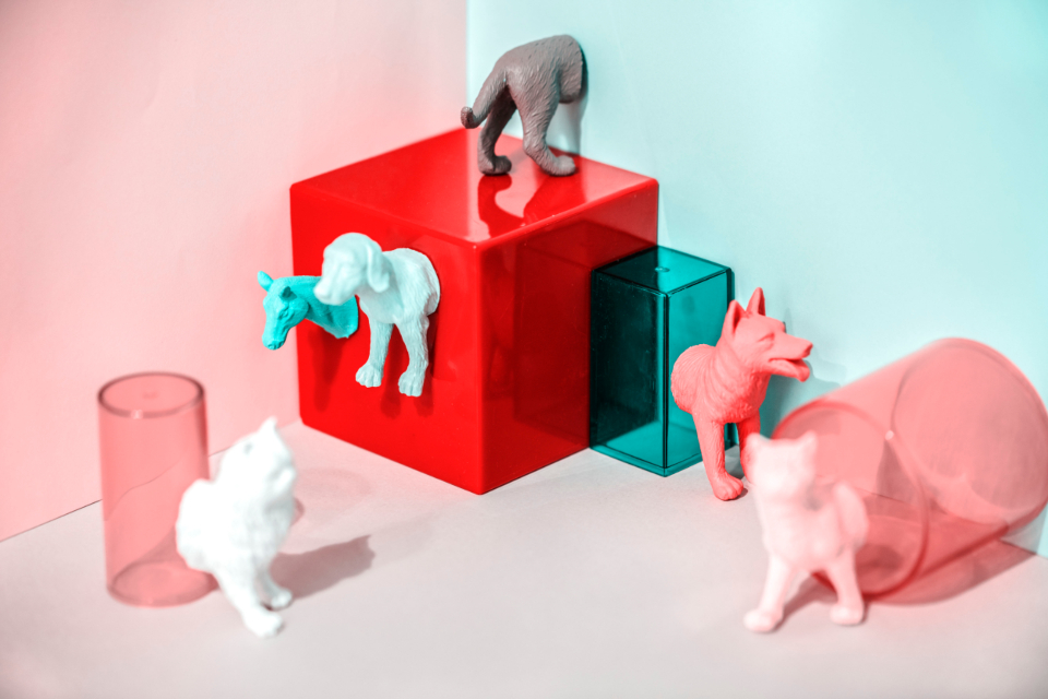 abstract animal background canine cat colorful concept creative cube decoration dog feline figure fun joy little mini miniature model neon pastel pattern pet pink plastic play red shape small symbol textured tiny toy