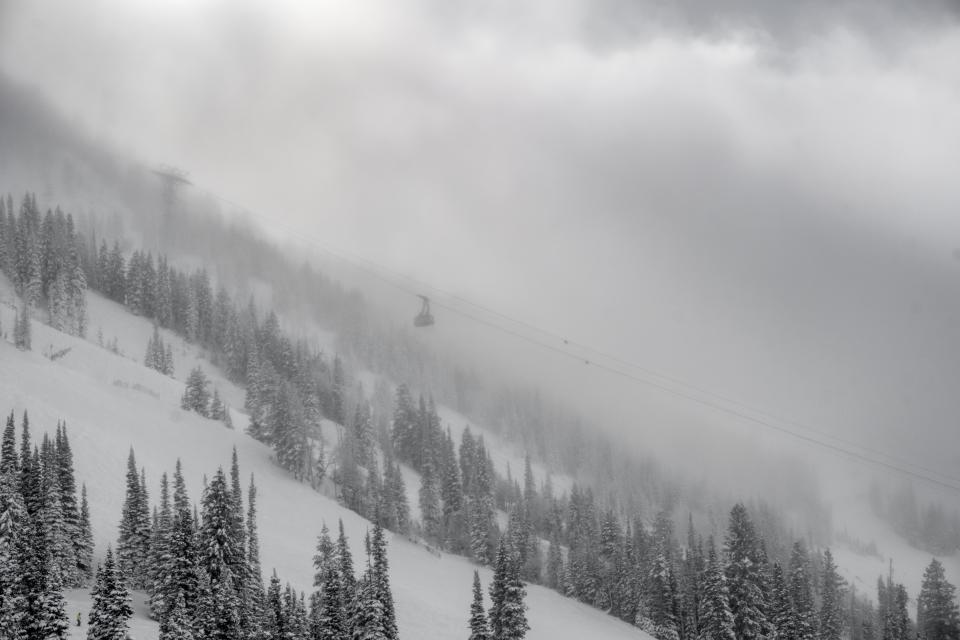 nature landscape mountain black and white monochrome trees fog clouds sky cable car snow cold weather winter