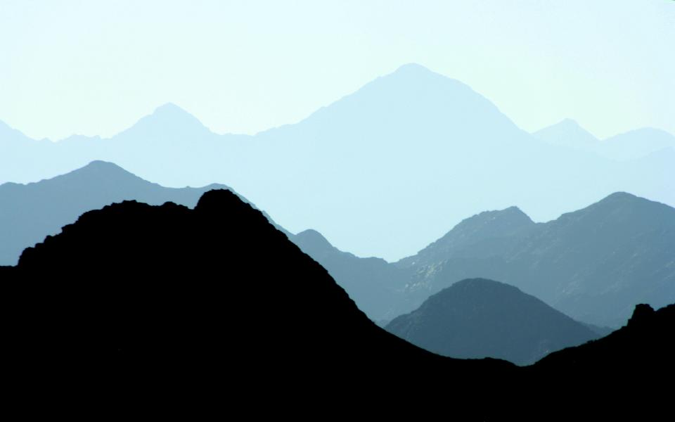 nature mountains sky blue silhouette monochrome