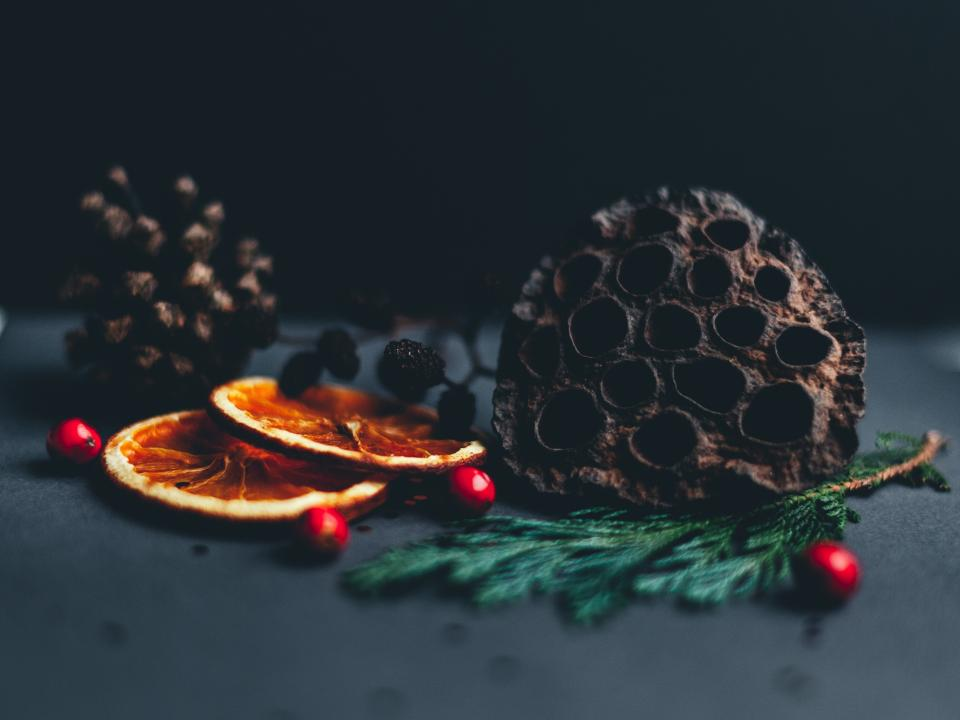 christmas festivity fruit food dark table