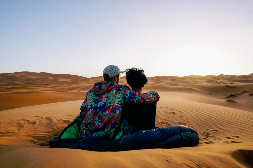 nature dessert sand dunes sun sky clouds people couple man woman love romance