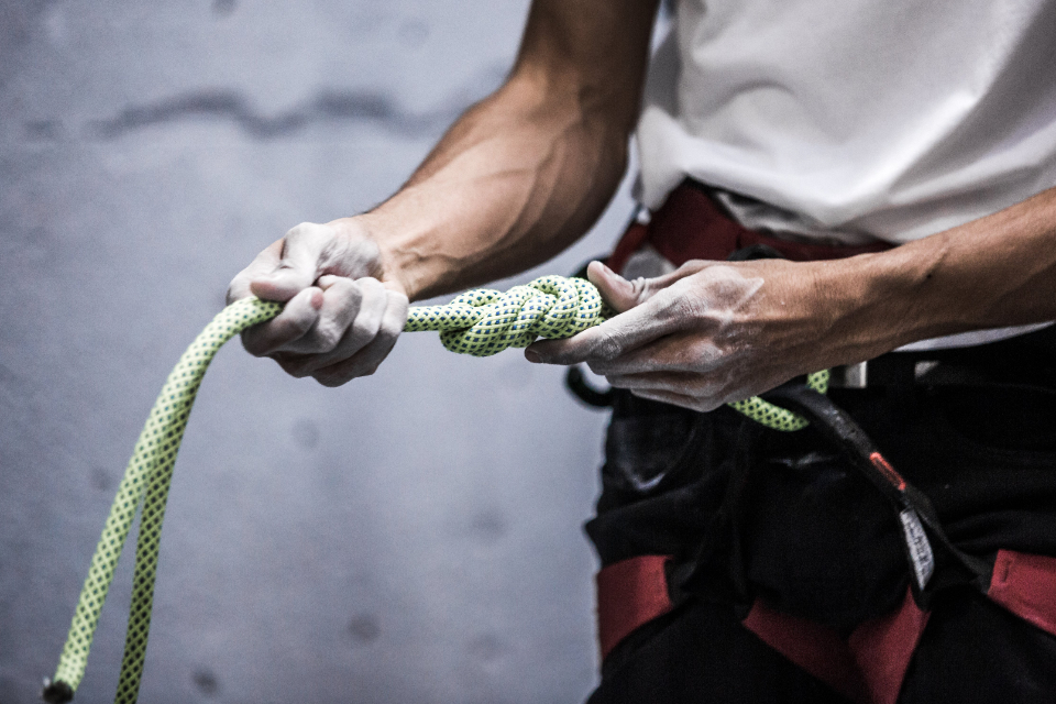 climbing rope hands person holding man indoors sport athlete exercise fitness chalk equipment gear