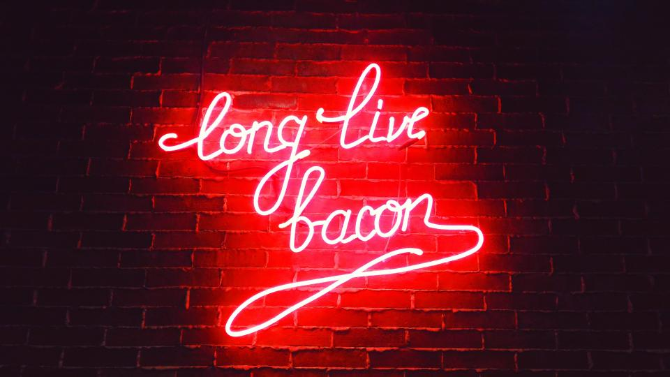 dark night light store restaurant bacon food bar red dinner