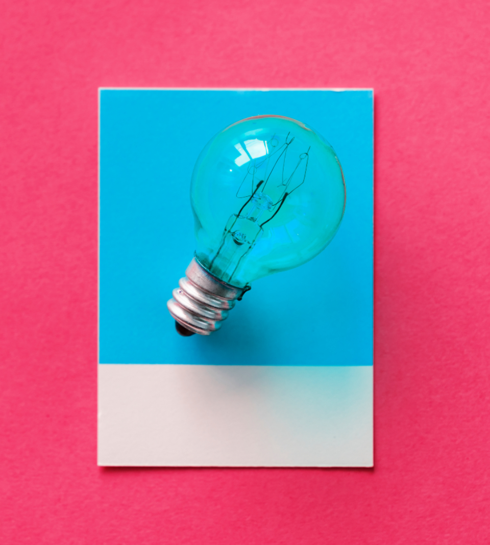 blue bulb card colorful concept conceptual creative creativity design electric electrical electricity energy glass glowing heat idea image innovation inspiration invention isolated light light bulb object paper pink pow