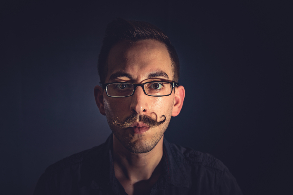 mustache male portrait handlebar glasses hipster face man guy people grooming
