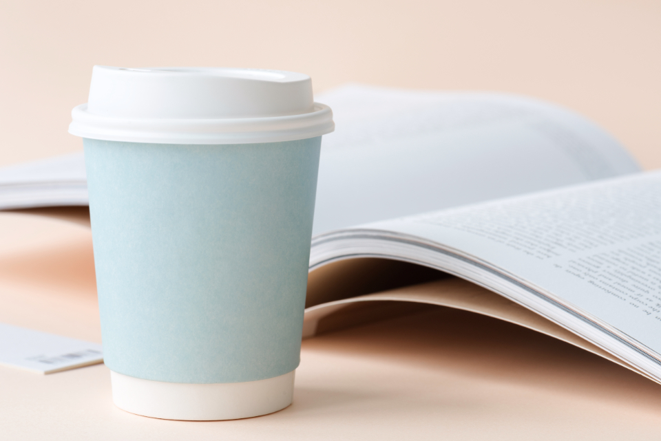 aerial beverage blank book clean closeup coffee coffee cup container copy space cup design design space drink empty flat lay flatlay hot drink ideas magazine minimal nobody object paper paper cup space up