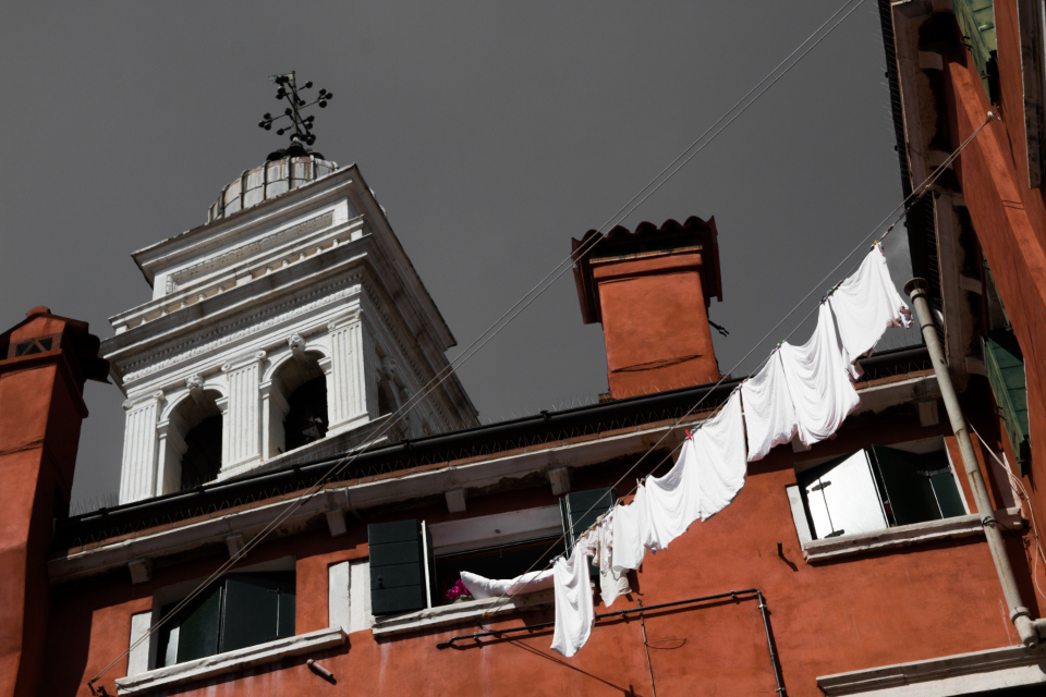 Venice building architecture washing hanging white dark sky