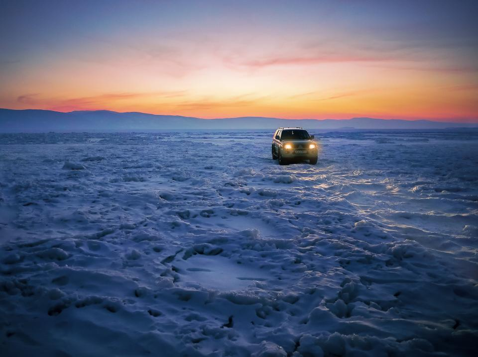 car desert nature mountains sky clouds snow headlights adventure travel trip