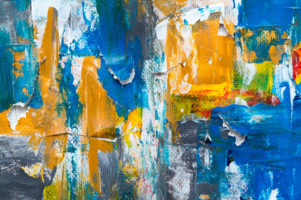 abstract art paint close up canvas texture acrylic creative design artist brush torn mustard yellow blue white painting