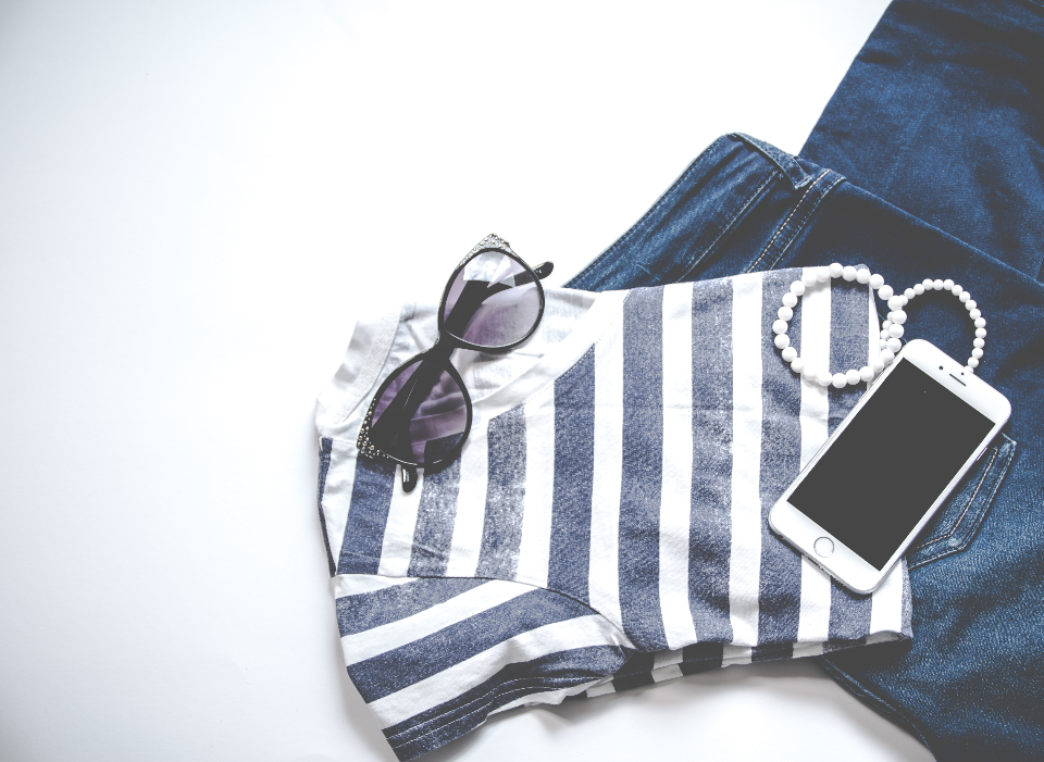 sunglasses jeans mobile device smartphone technology fashion bracelet t-shirt stripes blue minimal