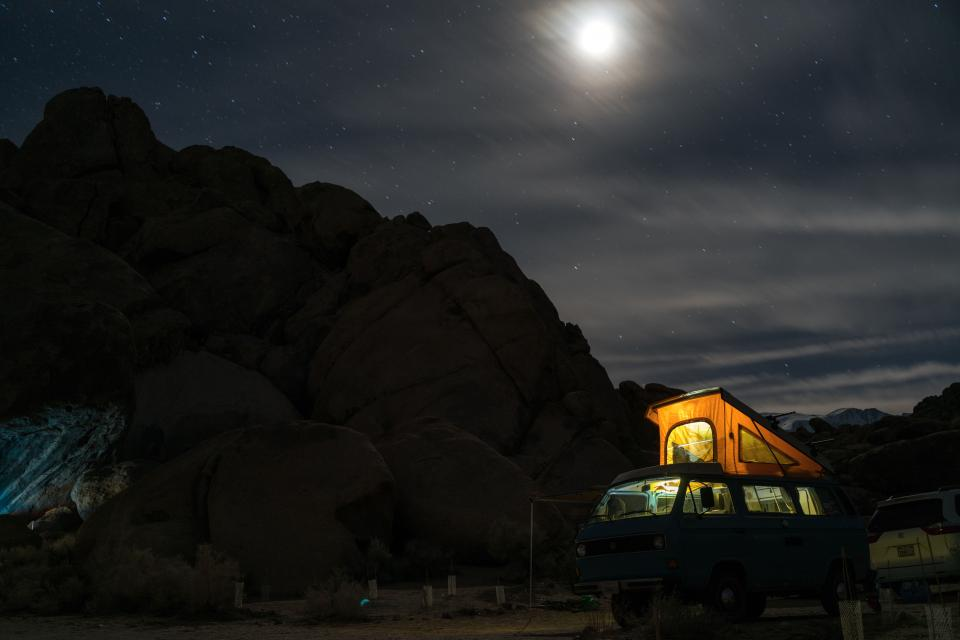 mountain dark night outdoor travel adventure forest vacation trip car vehicle moon light sky