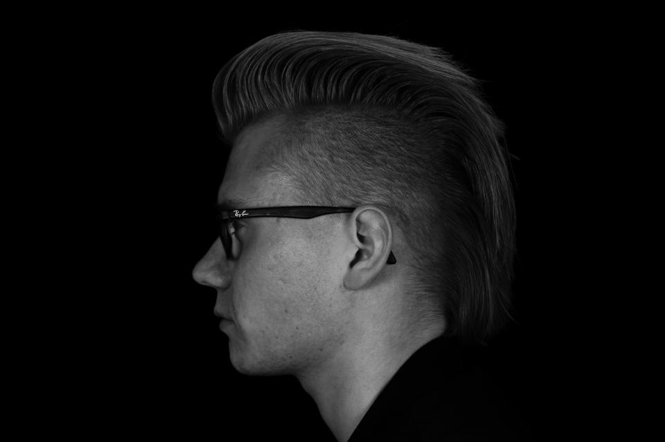 man guy people black and white eyeglasses haircut fashion model style side view