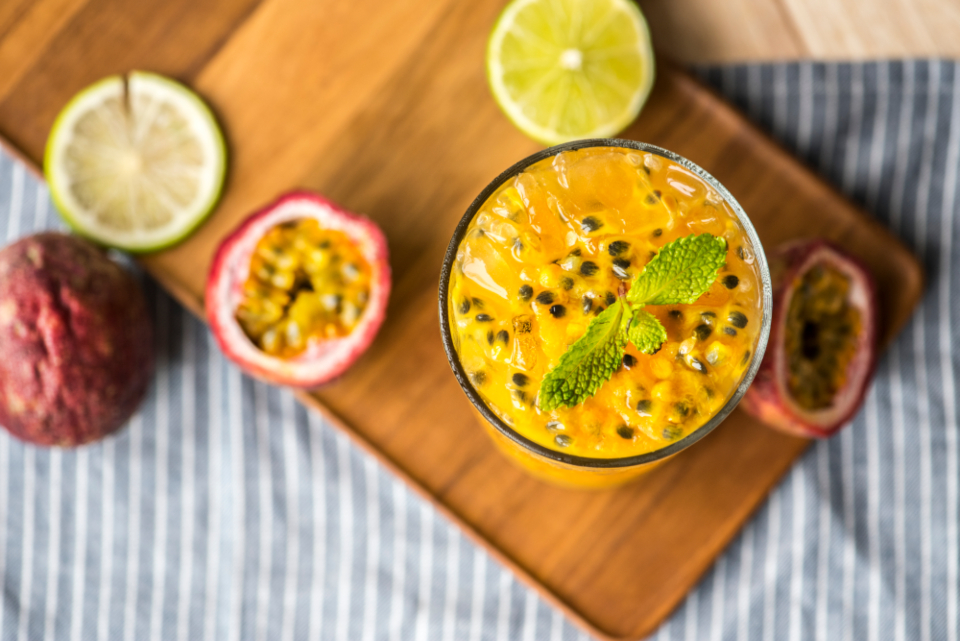 food photography fresh fruit glass gourmet healthcare healthy ingredient juice juicy macro mint natural nutrients nutritious organic passion passionfruit passionfruit smoothie