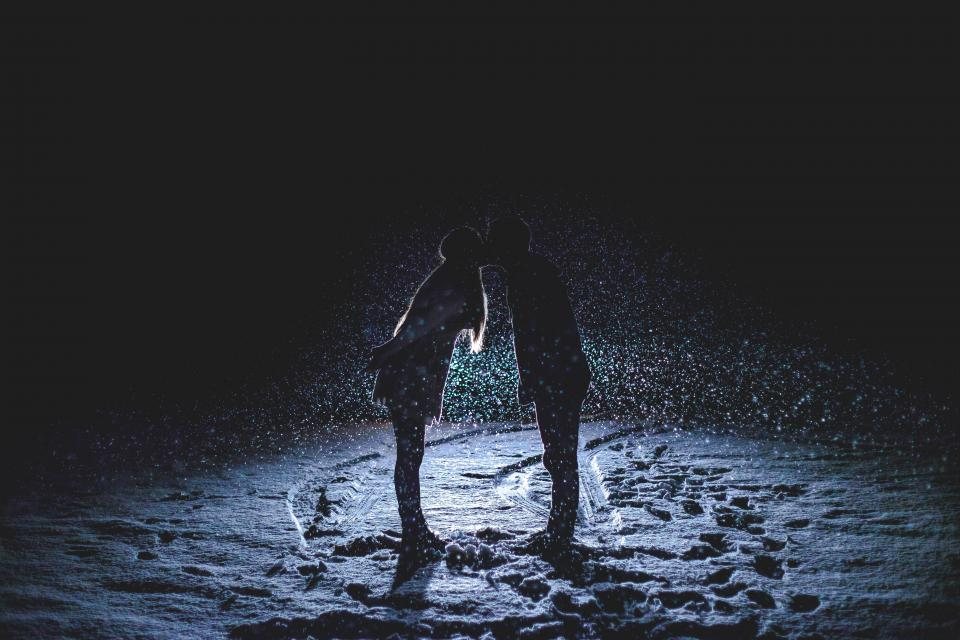 couple kissing love romance romantic girl woman guy man people night dark evening snow snowing winter cold