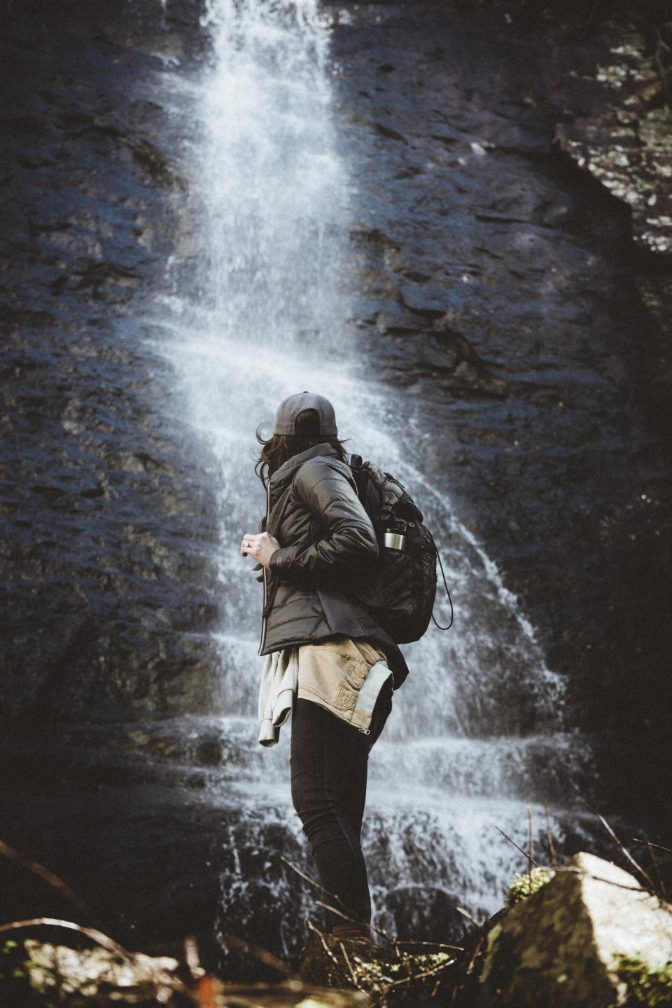 nature people woman back pack travel adventure water falls