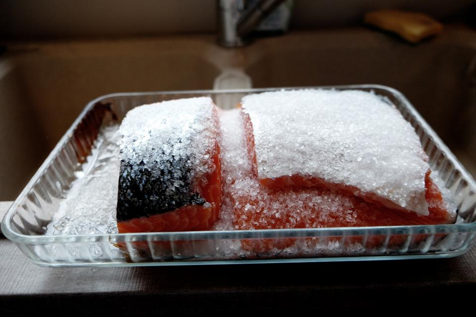 frozen salmon fish ice food dish thaw
