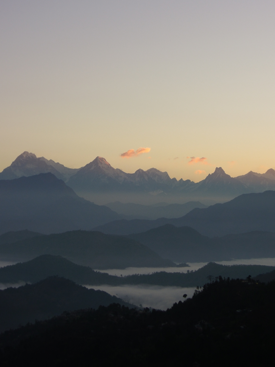 nepal mountain sunrise morning clouds cloudy mist misty nature landscape sky