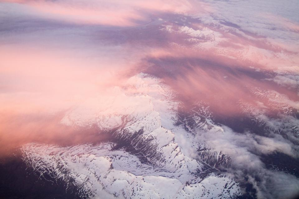 nature topography aerial snow clouds gradient beautiful pink white blue