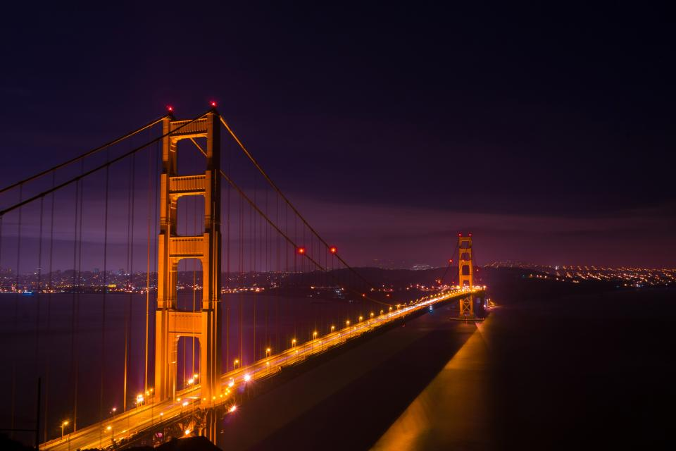 Golden Gate Bridge San Francisco night architecture lights water sky dark